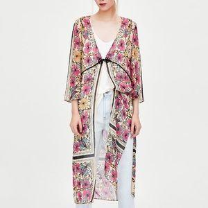 Zara floral print dressing gown